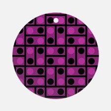 Black and Pink Dots Ornament (Round)