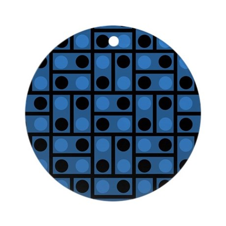 Black and Blue Dots Ornament (Round)
