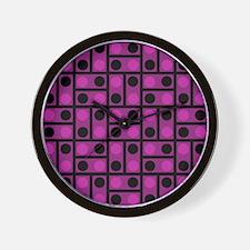 Black and Pink Dots Wall Clock