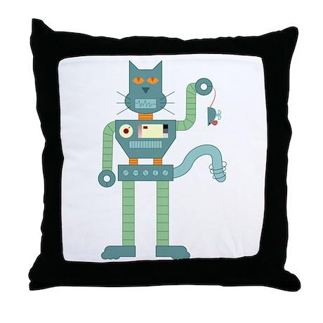 Robot Cat Mouse Toy Throw Pillow