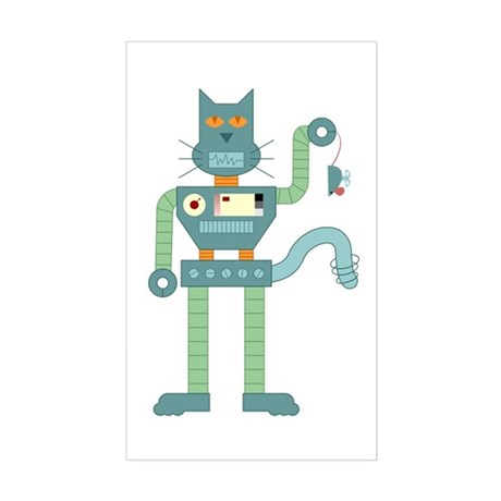 Robot Cat Mouse Toy Rectangle Sticker