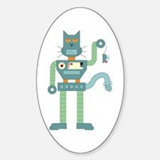 Robot Cat Mouse Toy Oval Decal