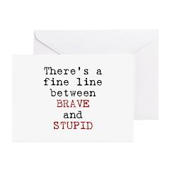 Fine Line Brave Stupid Greeting Cards (Pk of 20)