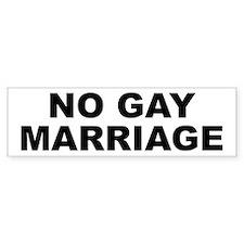 No Gay Marriage Bumper Bumper Sticker