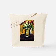 "Tote Bag: ""Flowers w/ an Orange Background&qu"