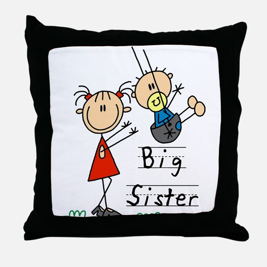 Swing Big Sister Little Brother Throw Pillow