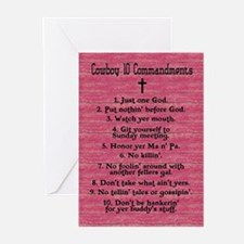 Cowboy 10 Commandments Greeting Cards (Package of