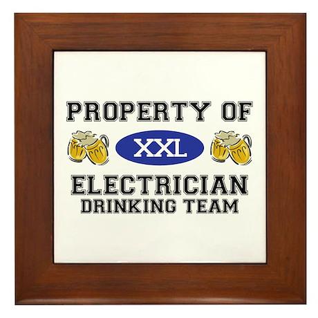 Property of Electrician Drinking Team Framed Tile