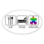 Eat Sleep Educate Oval Sticker