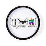 Eat Sleep Educate Wall Clock