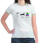 Eat Sleep Educate Jr. Ringer T-Shirt