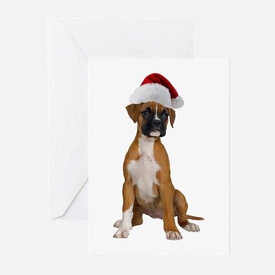Santa Boxer Puppy Greeting Cards (Pk of 10)