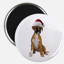 Santa Boxer Puppy Magnet