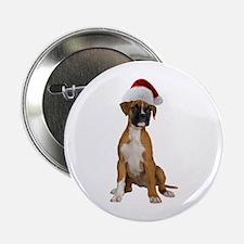 """Santa Boxer Puppy 2.25"""" Button"""