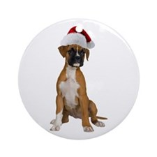 Santa Boxer Puppy Ornament (Round)