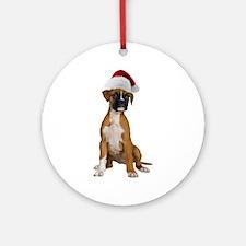 Santa Boxer Puppy Ornament (Round)