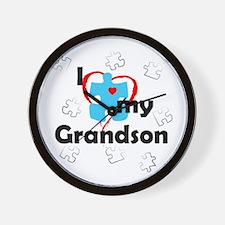 I Love My Grandson - Autism Wall Clock