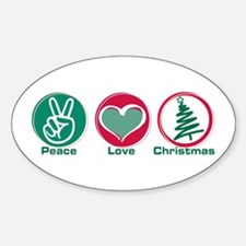 Peace Love Christmas Oval Decal
