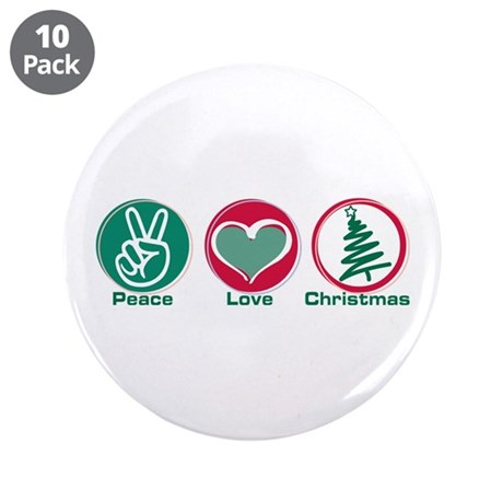 """Peace Love Christmas 3.5"""" Button (10 pack)"""