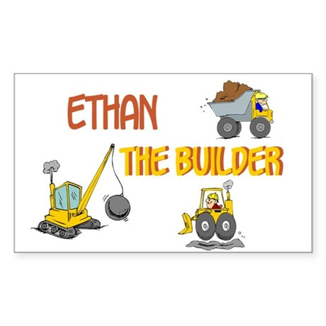 Ethan the Builder Rectangle Sticker
