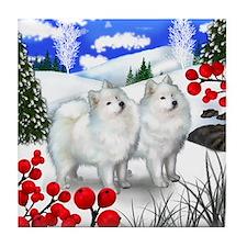 SAMOYED DOGS WINTER BERRIES Tile Coaster