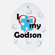 I Love My Godson - Autism Oval Ornament