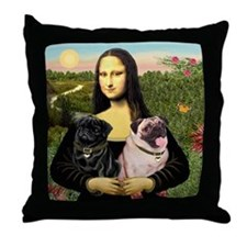 Mona & her 2 Pugs Throw Pillow