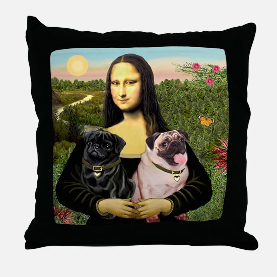 Mona & her 2 Pugs Throw Pillow