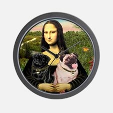 Mona & her 2 Pugs Wall Clock