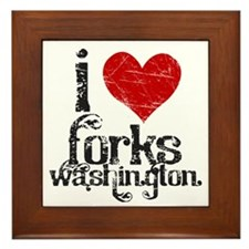 I Love Forks Washington Framed Tile