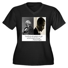 Douglass-Obama Women's Plus Size V-Neck Dark T-Shi