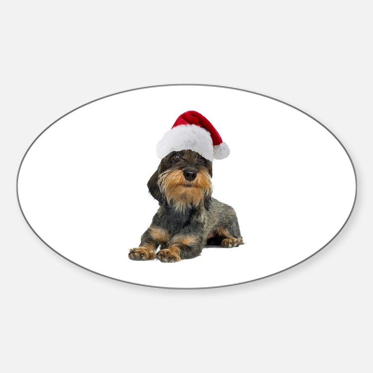 Wirehaired Dachshund Christmas Oval Decal