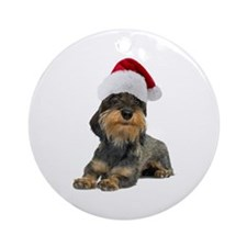Wirehaired Dachshund Christmas Ornament (Round)