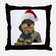 Wirehaired Dachshund Christmas Throw Pillow