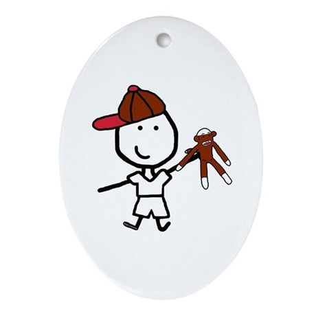 Boy & Monkey Oval Ornament