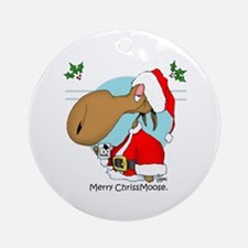 Merry Chriss Moose Ornament (Round)