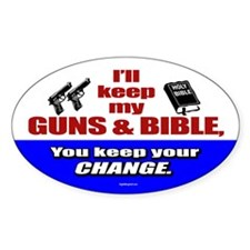 I'll Keep My Guns and Bible Oval Sticker (10 pk)