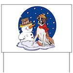 Boxer Dog and Snowman Yard Sign