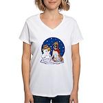 Boxer Dog and Snowman Women's V-Neck T-Shirt