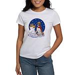 Boxer Dog and Snowman Women's T-Shirt