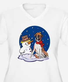 Boxer Dog and Snowman T-Shirt