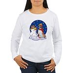 Boxer Dog and Snowman Women's Long Sleeve T-Shirt