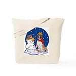 Boxer Dog and Snowman Tote Bag