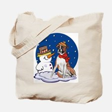 Boxer Dog and Snowman Tote Bag