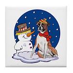 Boxer Dog and Snowman Tile Coaster