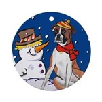 Boxer Dog and Snowman Ornament (Round)