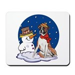 Boxer Dog and Snowman Mousepad