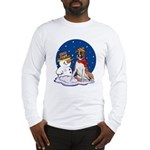 Boxer Dog and Snowman Long Sleeve T-Shirt