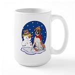 Boxer Dog and Snowman Large Mug