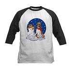 Boxer Dog and Snowman Kids Baseball Jersey